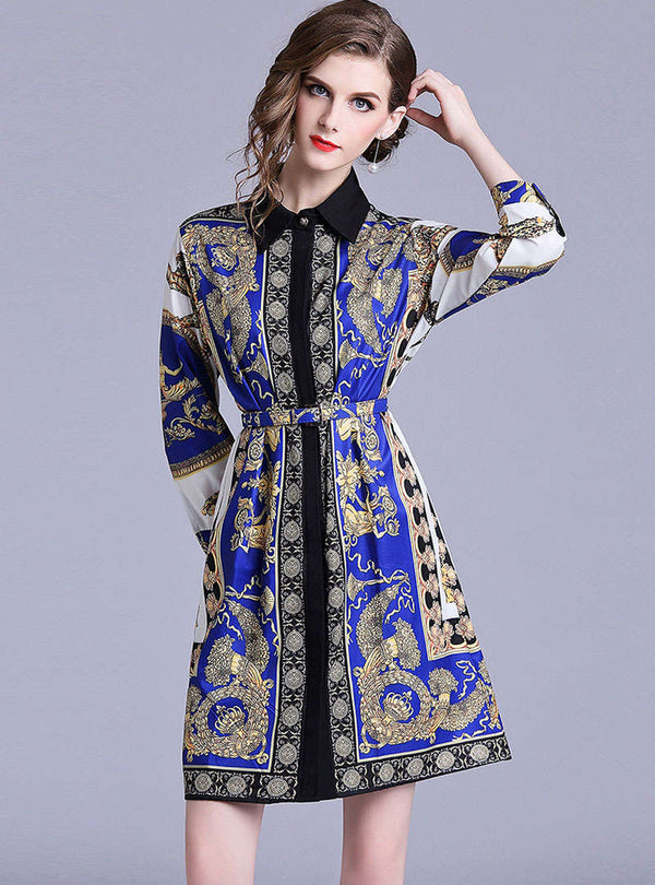 Blue Retro Floral Printed Mini Shirt Dress