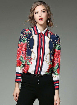 Floral Printed Front Buttoned Blouse