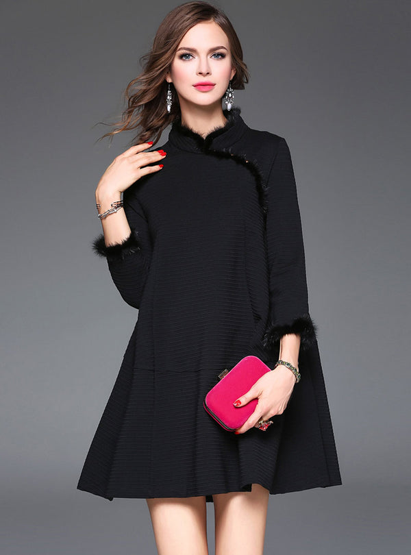 Black A-Line Spandex Coat