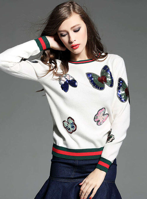 Multi Color Butterfly Sequin Knitted Sweater