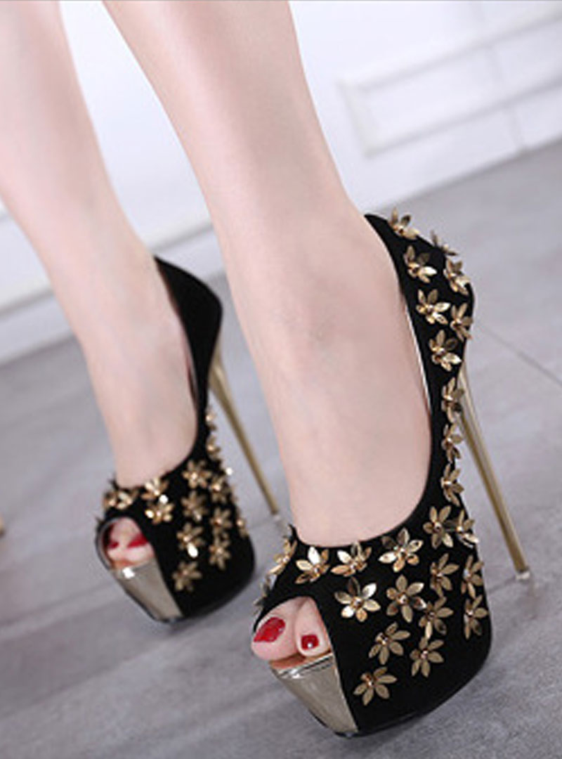 Black Embroidered Peep Toe Stiletto Heels