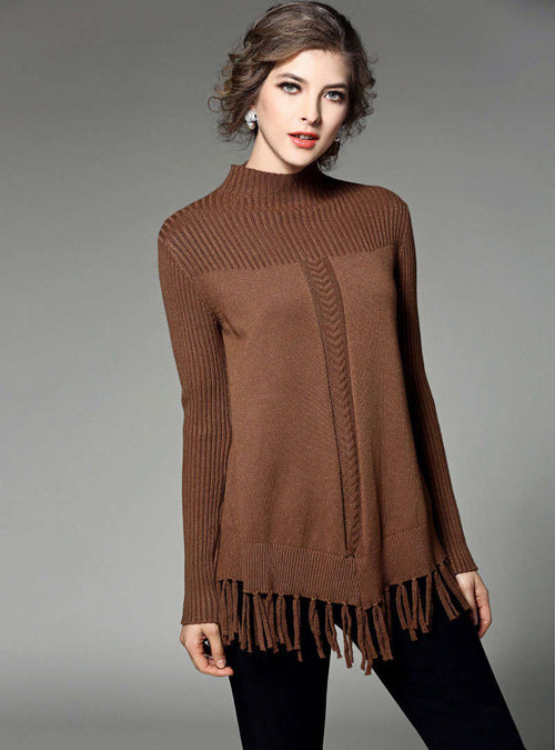 Brown Fringe Stand Collar Knitted Sweater