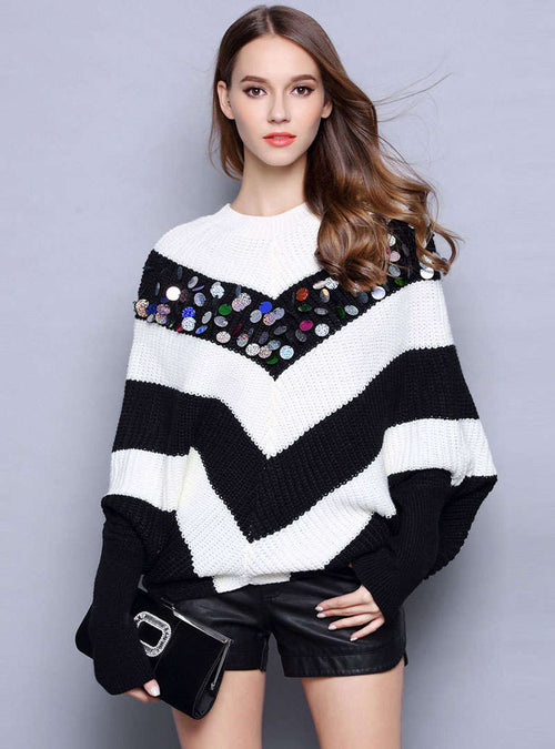 Striped Color Batwing Sleeve Sequin Sweater