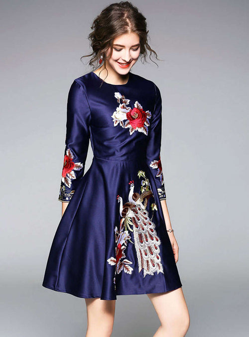 Navy Blue Floral Embroidered Satin Mini Dress