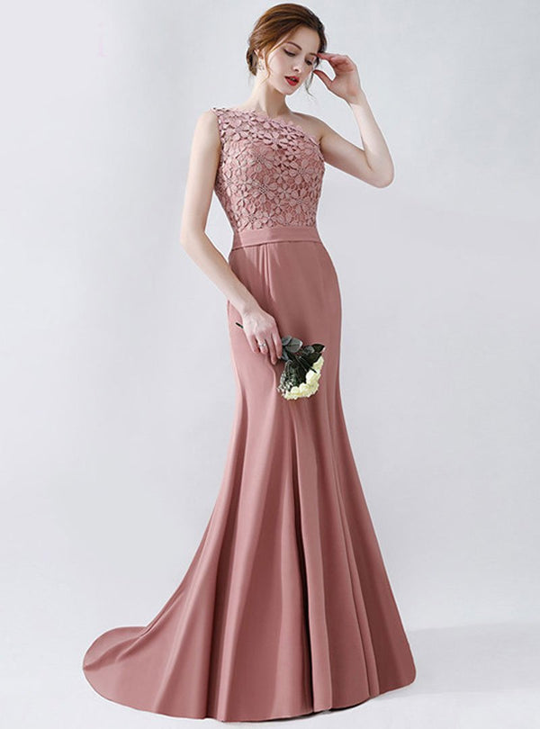 Pink One Shoulder Floral Evening Dress