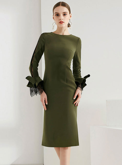 Army Green Flare Sleeve Bodycon Dress