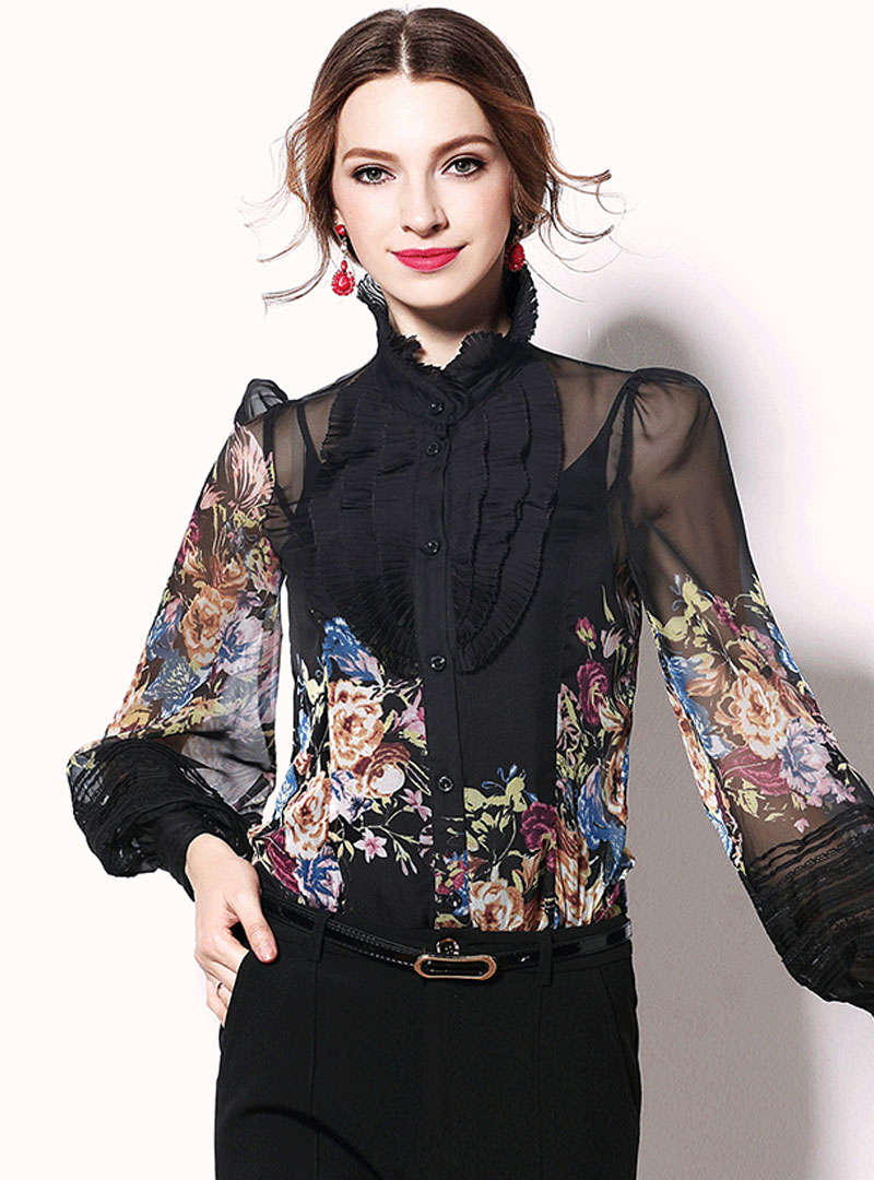 Floral Printed Lantern Sleeves Ruffle Side Blouse