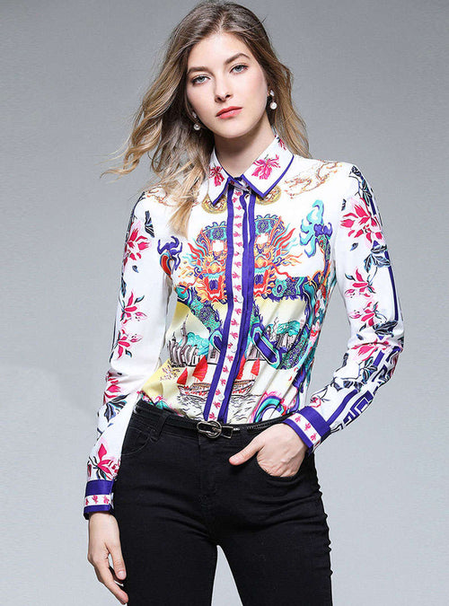 Multi-Color Retro Floral Printed Blouse