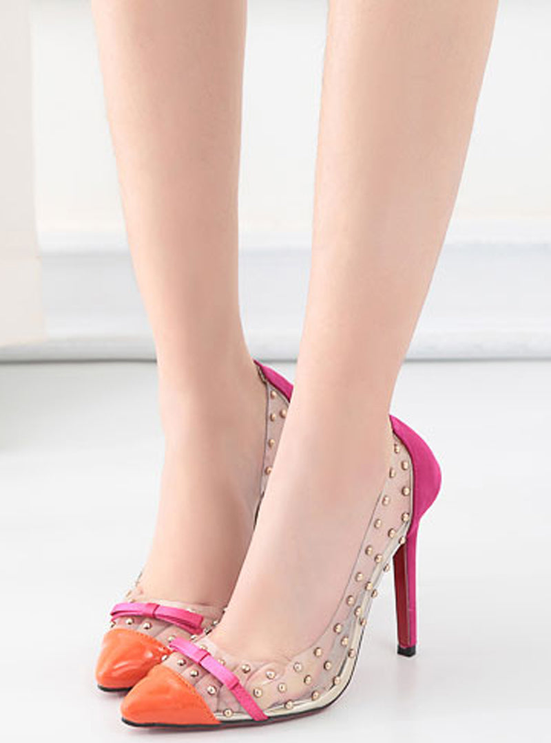Transparent Rivet Bowknot Stiletto Heels