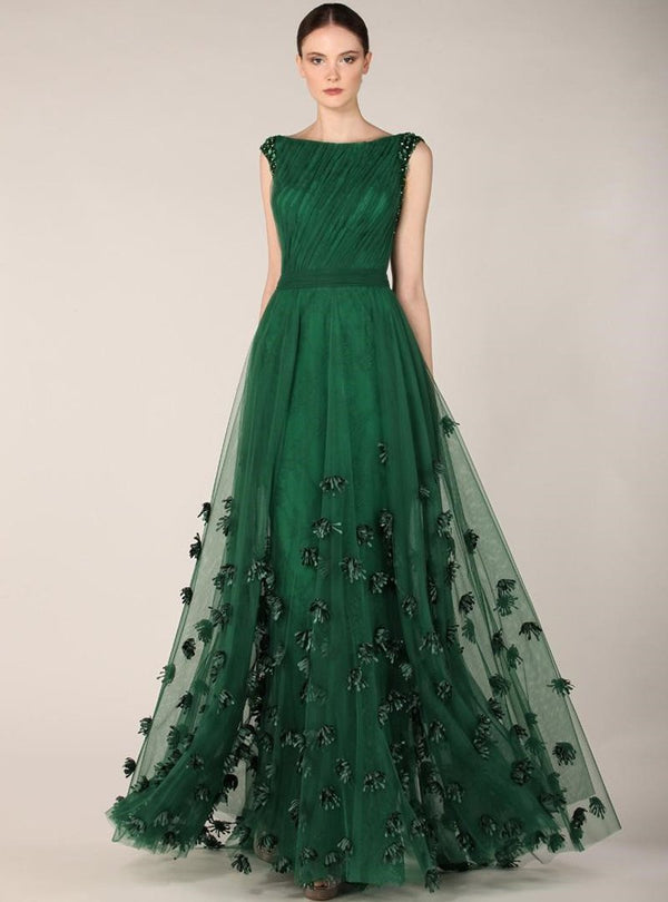 Green Floral Embroidered Evening Dress