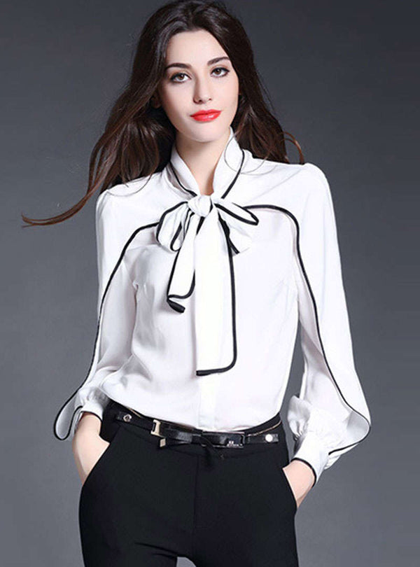 Bowknot Ruffled Sleeve Silk Blouse