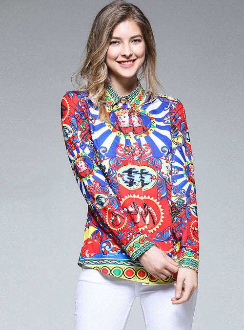 Retro Floral Printed Asymmetric Blouse