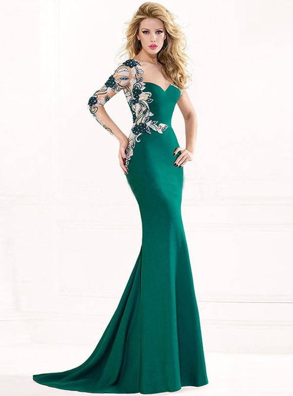 Solid Color Sweetheart Fish Tail Evening Dress