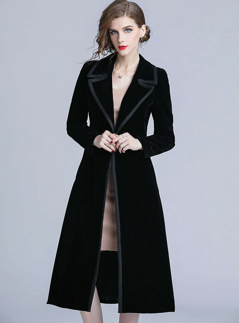 Black Notch Lapel Cinched Waist Velvet Coat