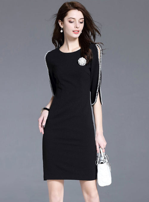 Black Beaded Split Sleeve Bodycon Mini Dress