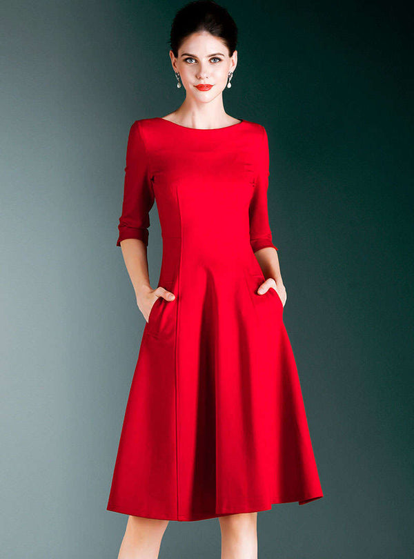 Solid Color Cinched Waist Midi Dress