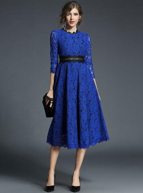 Solid Color Lace Ruffled Hem Midi Dress