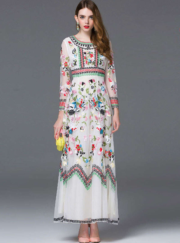 Floral Embroidered Cinched Waist Swing Maxi Dress
