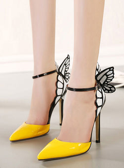 Matching Color Pointed Heels With Butterfly