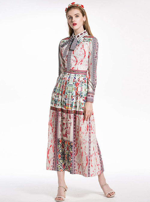 Floral Printed Cinched Waist Pleated Shirt Dress