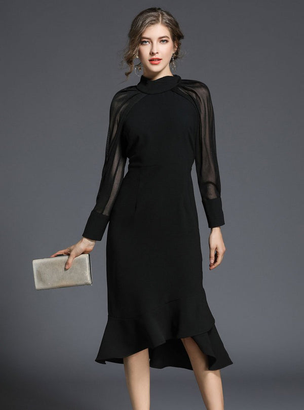 Black See-Through Sleeve Asymmetric Mermaid Midi Dress