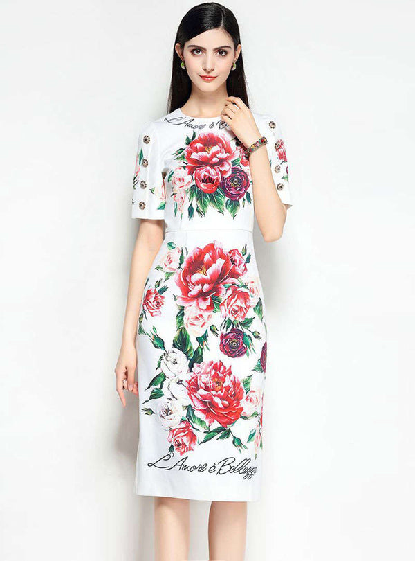 White Floral Printed Cinched Waist Midi Dress