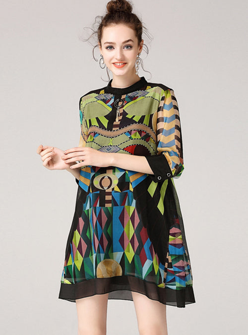 Multi-Color Silk Printed Mini Dress