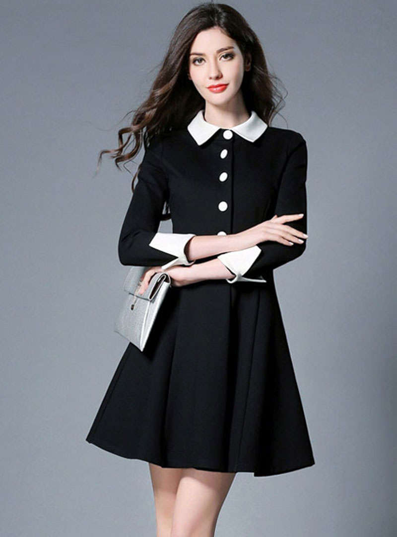 Black Buckle Turn Down Collar A-Line Mini Dress