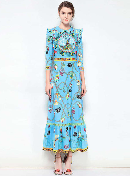 Floral Printed Silked Maxi Dress