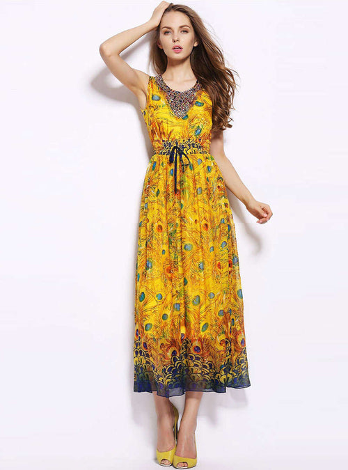 Yellow Ethnic Cinched Waist Maxi Dress