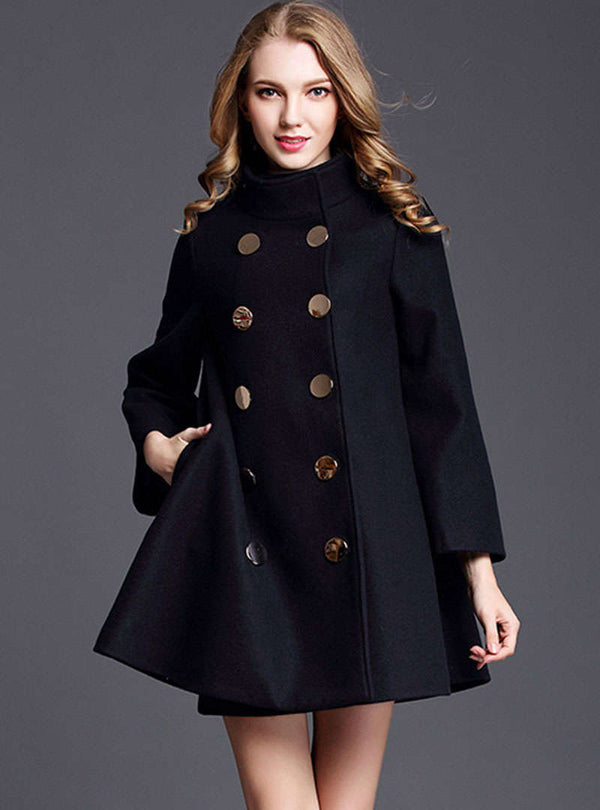 Black Loose Double-Breasted Wool Coat
