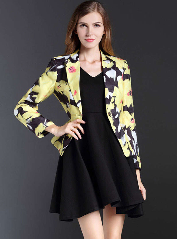Multi Color Printed Button Blazer