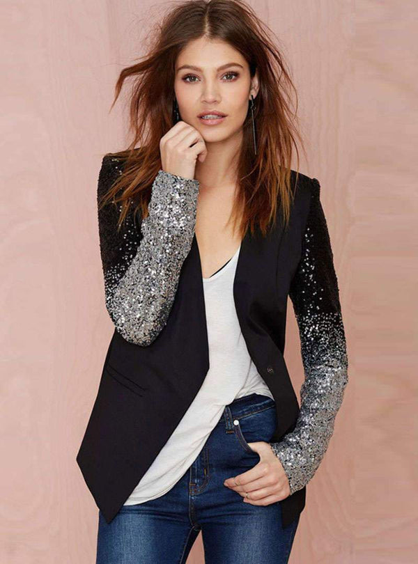 Black V-Neck Sequin Cinched Waist Blazer
