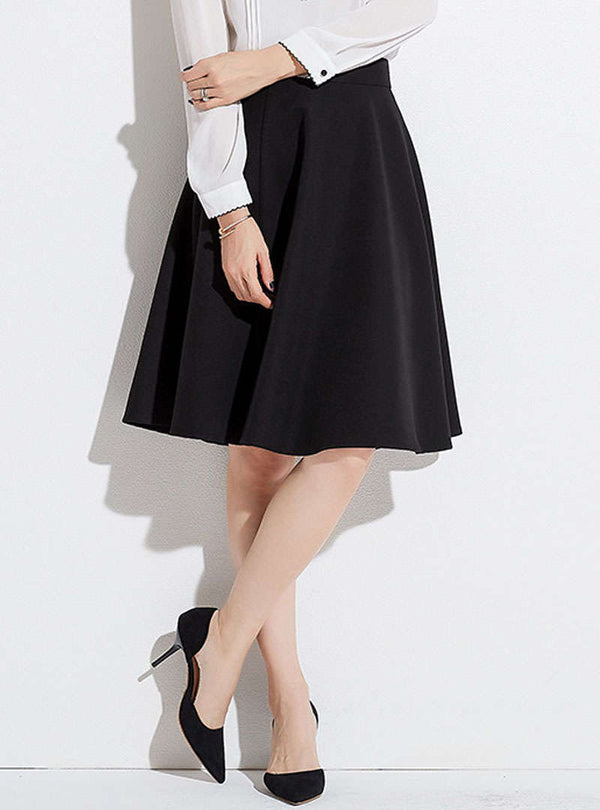 Brief Black A-Line Ruffled Midi Skirt