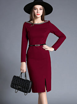 Wine Red Rhinestone Bodycon Dress