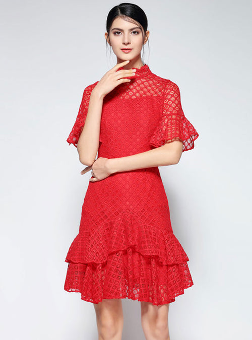 Red Lace Falbala Sleeve Mini Dress