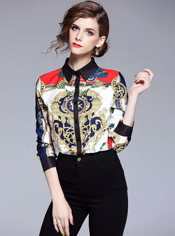Multi Color Printed Cotton Vintage Blouse
