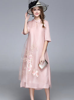 Pink Stand Neck Organza Silk Dress
