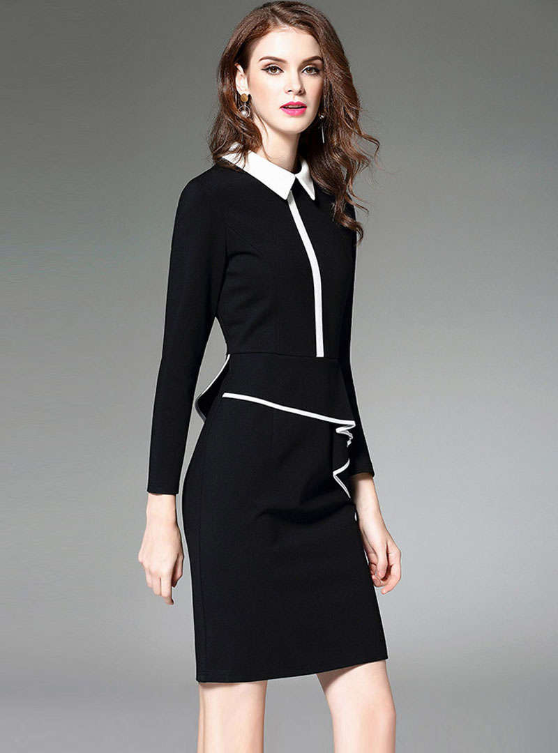 Black Turn Down Collar Cinched Waist Mini Dress