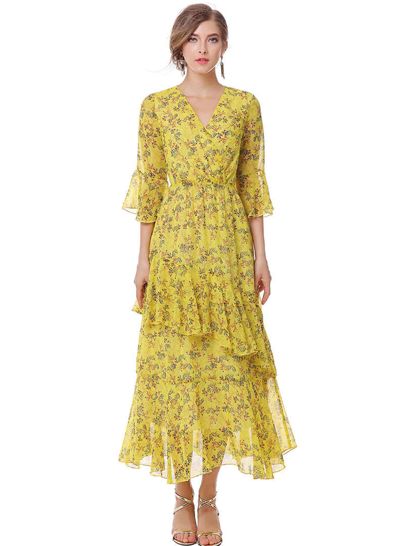 Yellow Floral Printed Asymmetric Maxi Dress