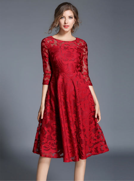 Red Hollow Out Embroidered Maxi Dress