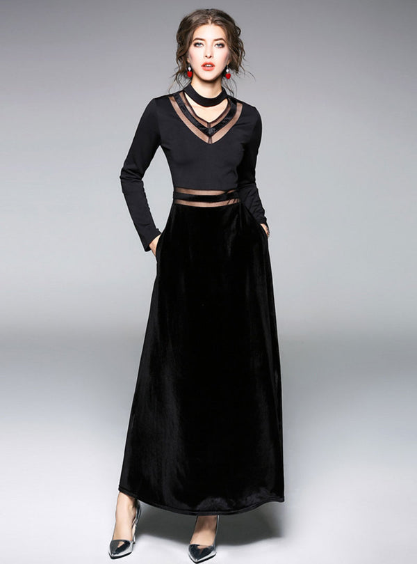 Dark Spliced Choker Neck High Waist Maxi Dress