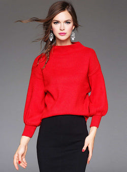 Solid Color Cony Hair Sweater