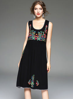 Black Floral Embroidered Sleeveless Mini Dress