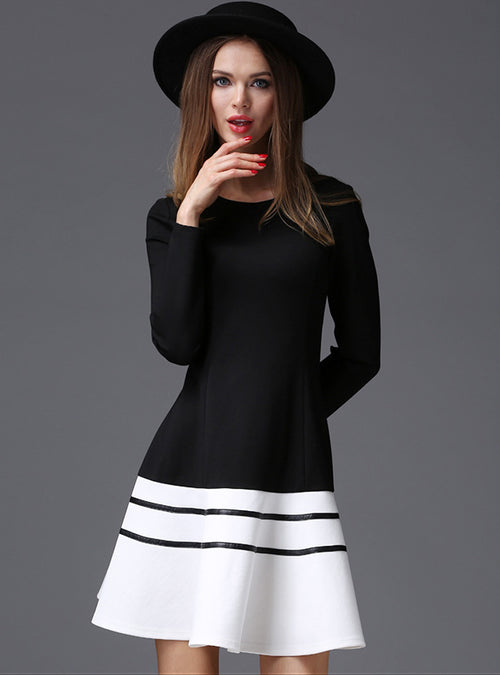 O-Neck Hit Color A-Line Midi Dress