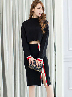 Black Knitted Two Piece Dress