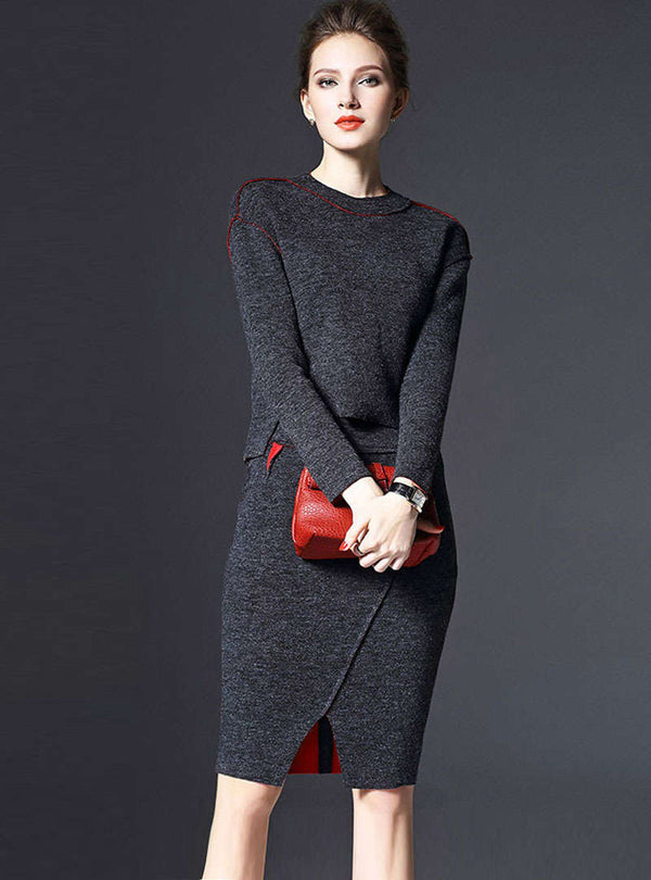 Grey Split Spliced Wool Two Piece Suit