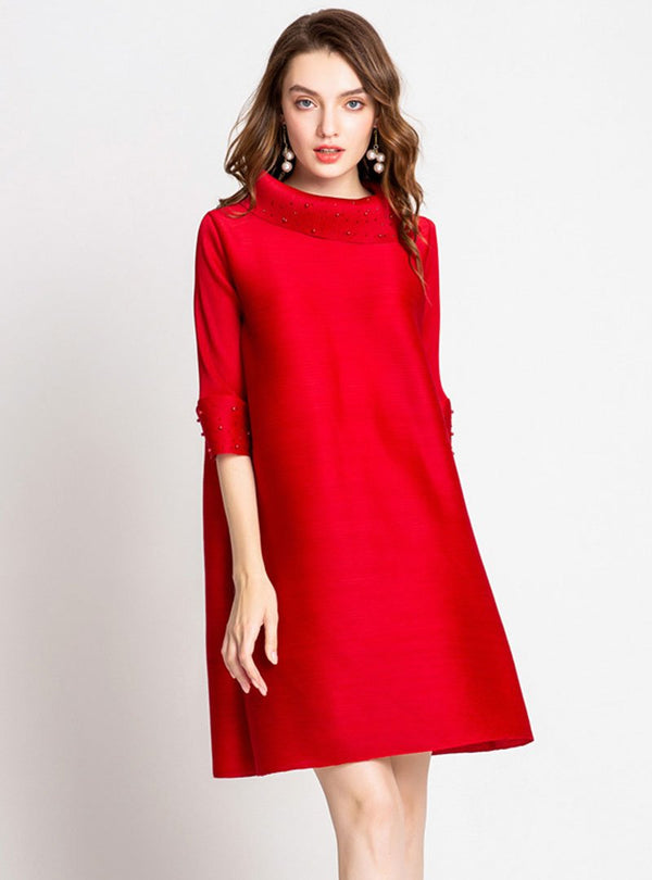 Elegant Pleated Shift Beaded Turtleneck Mini Dress