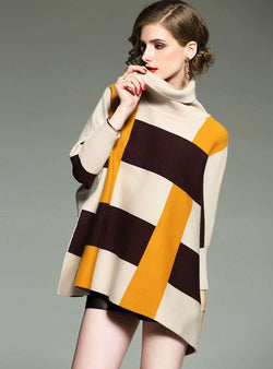 Color Block Printed Batwing Sweater