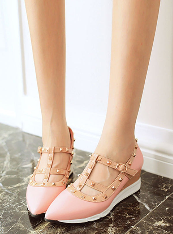 Rivet Strap Buckle Pointed Toe Wedges